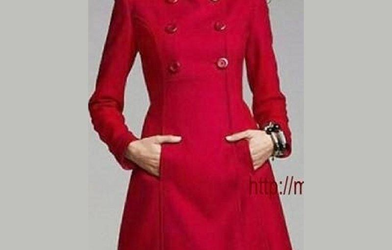 γυναικειο κοκκινο παλτο με πετο γιακα και σταυρωτα κουμπια
