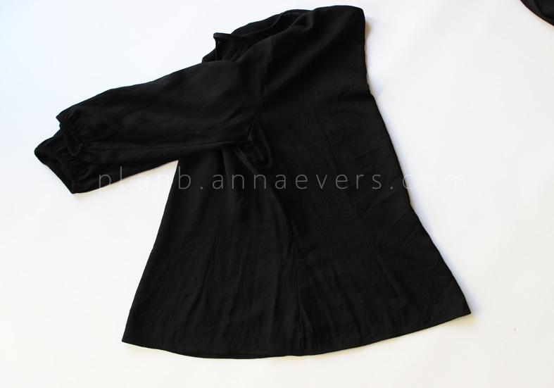 ριχτο μαυρο φορεμα χωρις πατρον με βολαν, οδηγιες