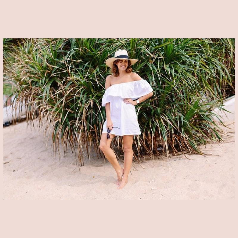 λευκο εξωμο φορεμα, ραβω φορεμα παραλιας μονη μου