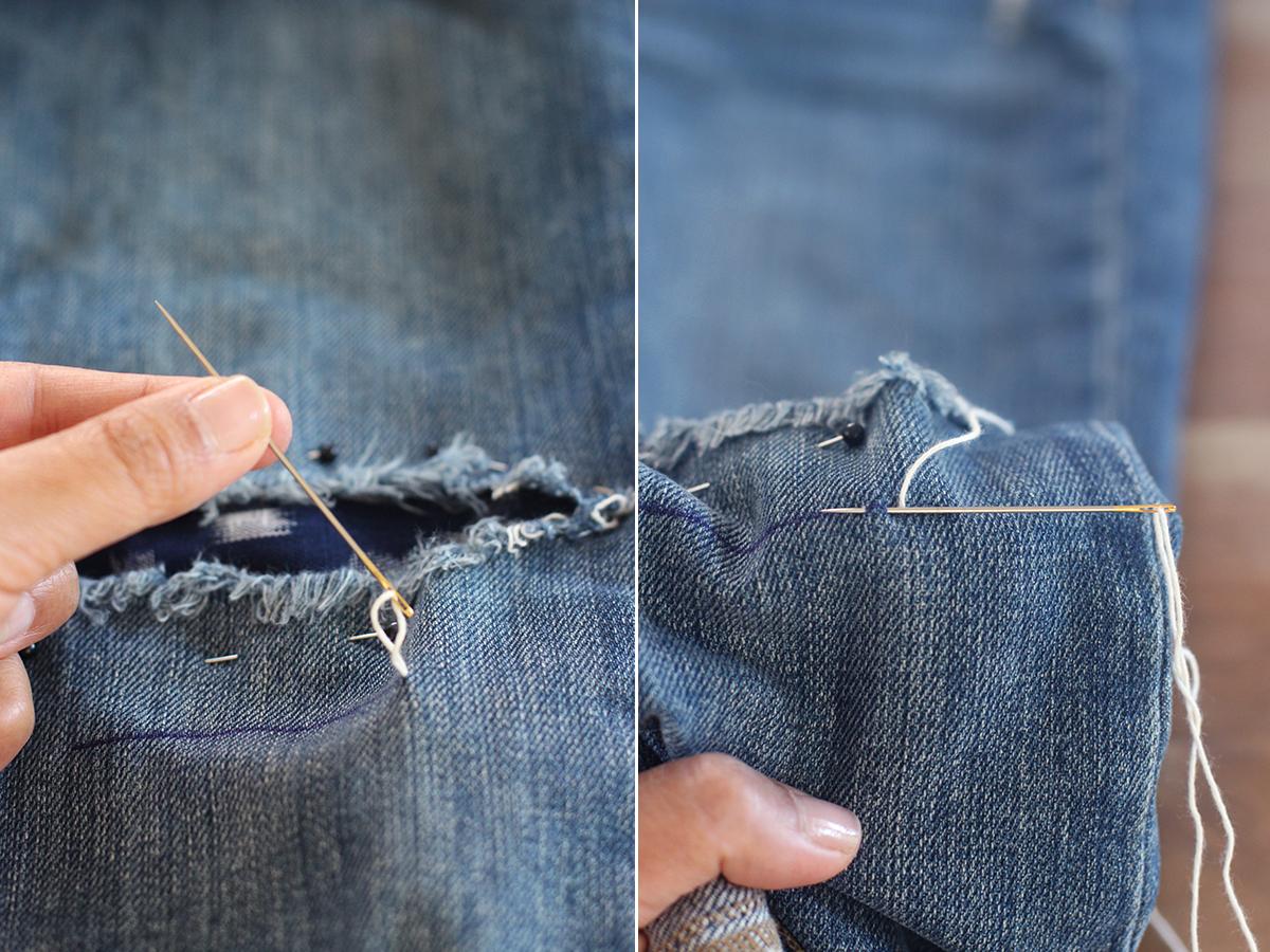 ιδιορθωστε το τζην με κεντημα Sashiko, ιαπωνικη τεχνη επιδιορθωσης