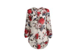 Floral μπλουζα με V λαιμο