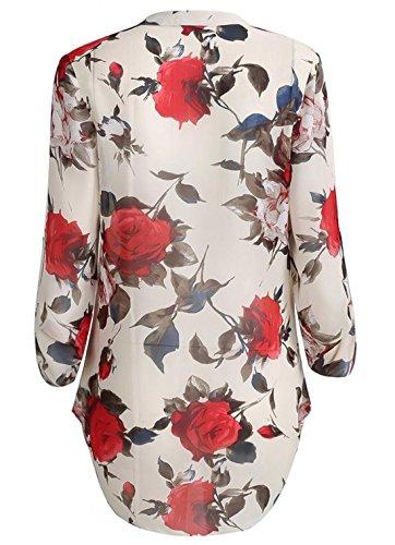 floral μπλουζα με V λαιμο , μακριά μανίκια