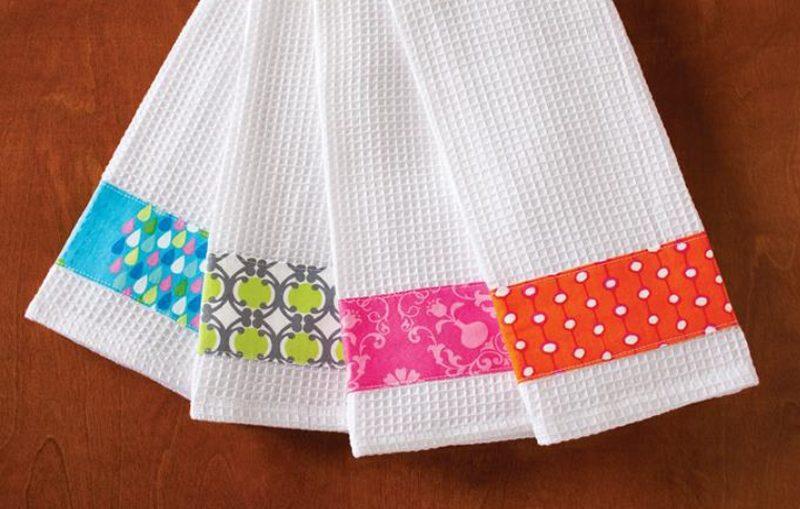 διακοσμημενες πετσετες κουζινας , διακοσμηστε τις λευκες πετσετες σας