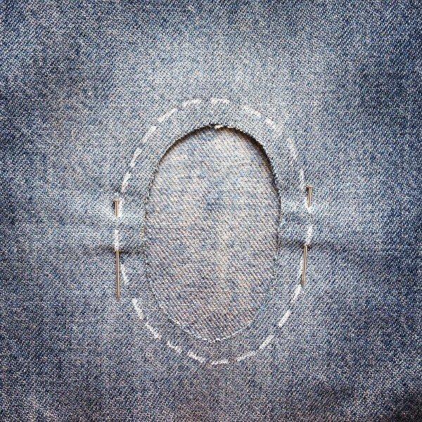 οβαλ μπαλωμα για τζην , τεχνικη μπαλωματος που γινεται μονο στο χερι