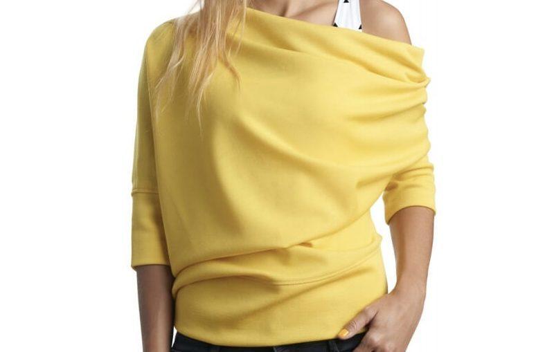 Κιτρινη ελαστικη μπλουζα με μανίκια τριών τετάρτων